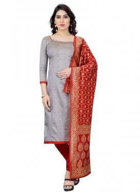 Grey and Red Trendy Churidar Salwar Kameez For Casual