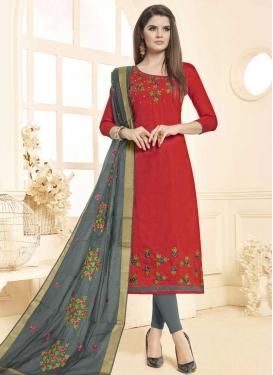 Grey and Red Trendy Churidar Salwar Suit