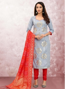 Grey and Red Trendy Churidar Suit