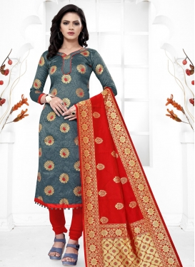 Grey and Red Trendy Straight Salwar Kameez For Casual