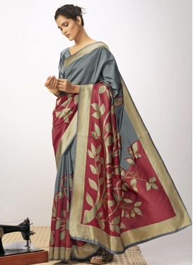 Grey and Red Woven Work Designer Contemporary Saree