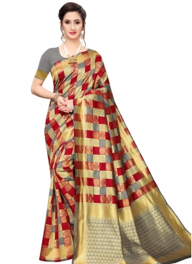 Grey and Red Woven Work Designer Contemporary Style Saree