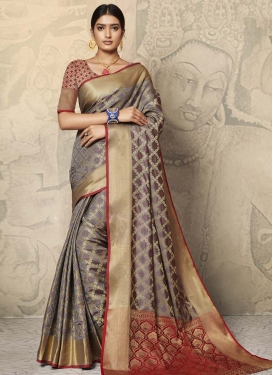 Grey and Red Woven Work Designer Traditional Saree