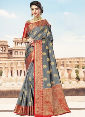 Grey and Red Woven Work Handloom Silk Designer Contemporary Saree
