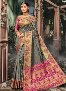 Grey and Rose Pink Contemporary Style Saree