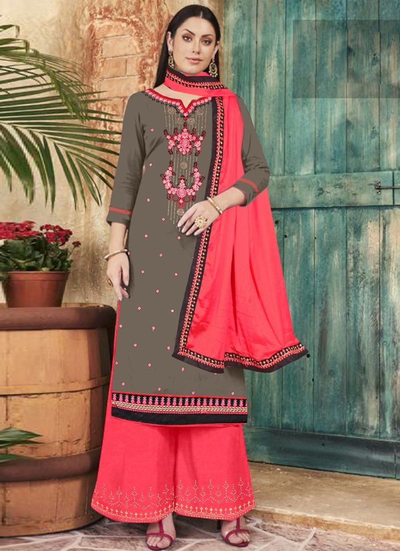 Grey and Rose Pink Cotton Silk Palazzo Style Pakistani Salwar Kameez