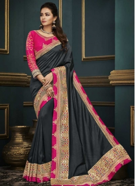 Grey and Rose Pink Embroidered Work Designer Contemporary Saree