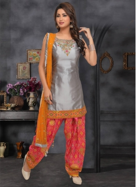 Grey and Rose Pink Embroidered Work Readymade Salwar Suit