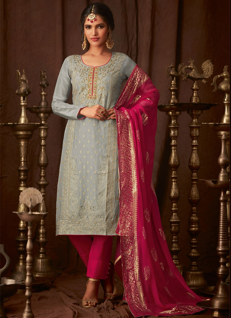 Grey and Rose Pink Pant Style Pakistani Salwar Suit