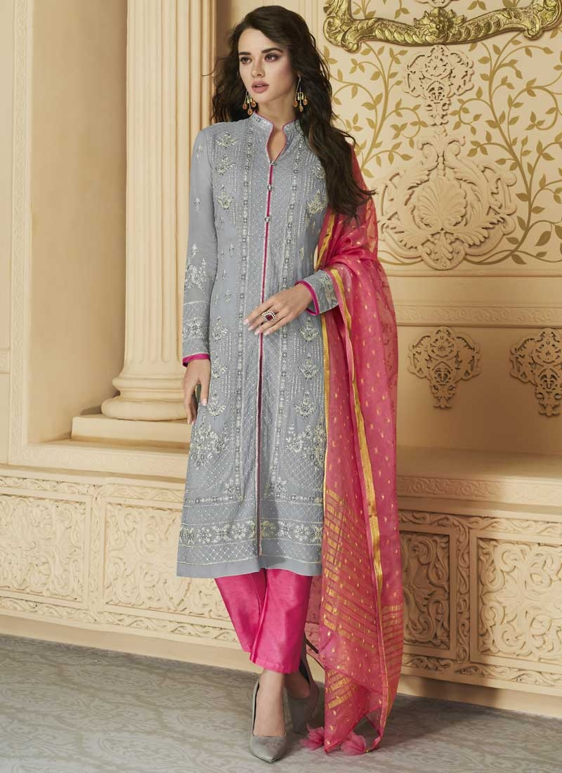 Grey and Rose Pink Pant Style Salwar Kameez For Ceremonial