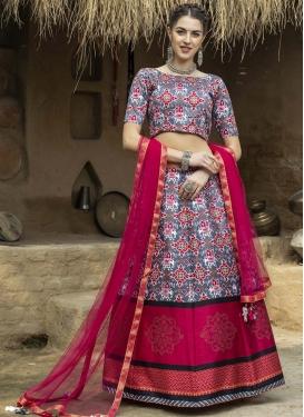 Grey and Rose Pink Print Work A Line Lehenga Choli
