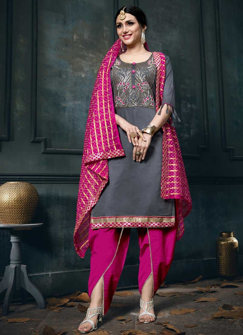 Grey and Rose Pink Punjabi Salwar Suit For Ceremonial