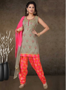 Grey and Rose Pink Readymade Salwar Suit For Ceremonial