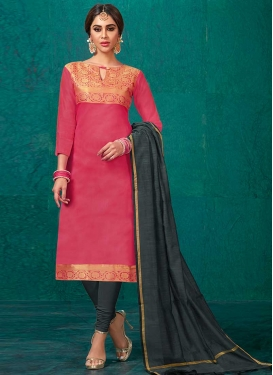 Grey and Rose Pink Trendy Churidar Salwar Kameez