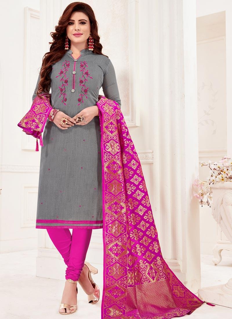 Grey and Rose Pink Trendy Churidar Salwar Kameez
