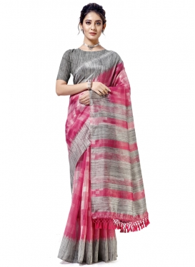 Grey and Rose Pink Trendy Classic Saree For Casual