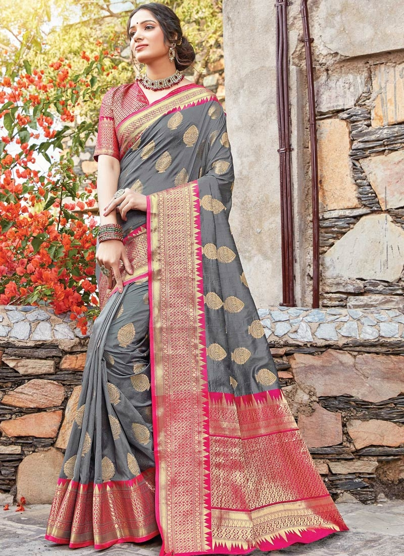 Grey and Rose Pink Woven Work Designer Traditional Saree