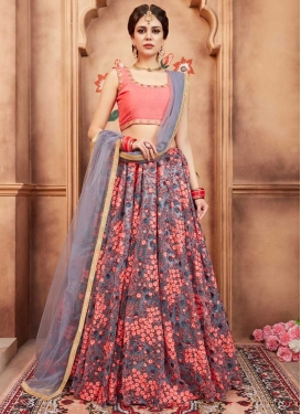 Grey and Salmon Aari Work Lehenga Choli