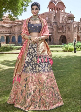 Grey and Salmon Beads Work Lehenga Choli