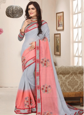Grey and Salmon Designer Contemporary Style Saree For Ceremonial