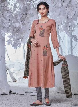 Grey and Salmon Embroidered Work Cotton Readymade Churidar Salwar Kameez