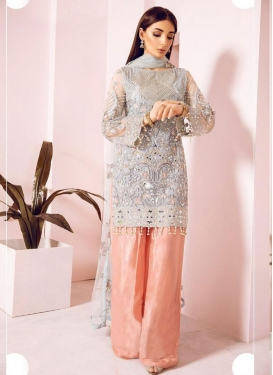 Grey and Salmon  Faux Georgette Palazzo Straight Salwar Kameez
