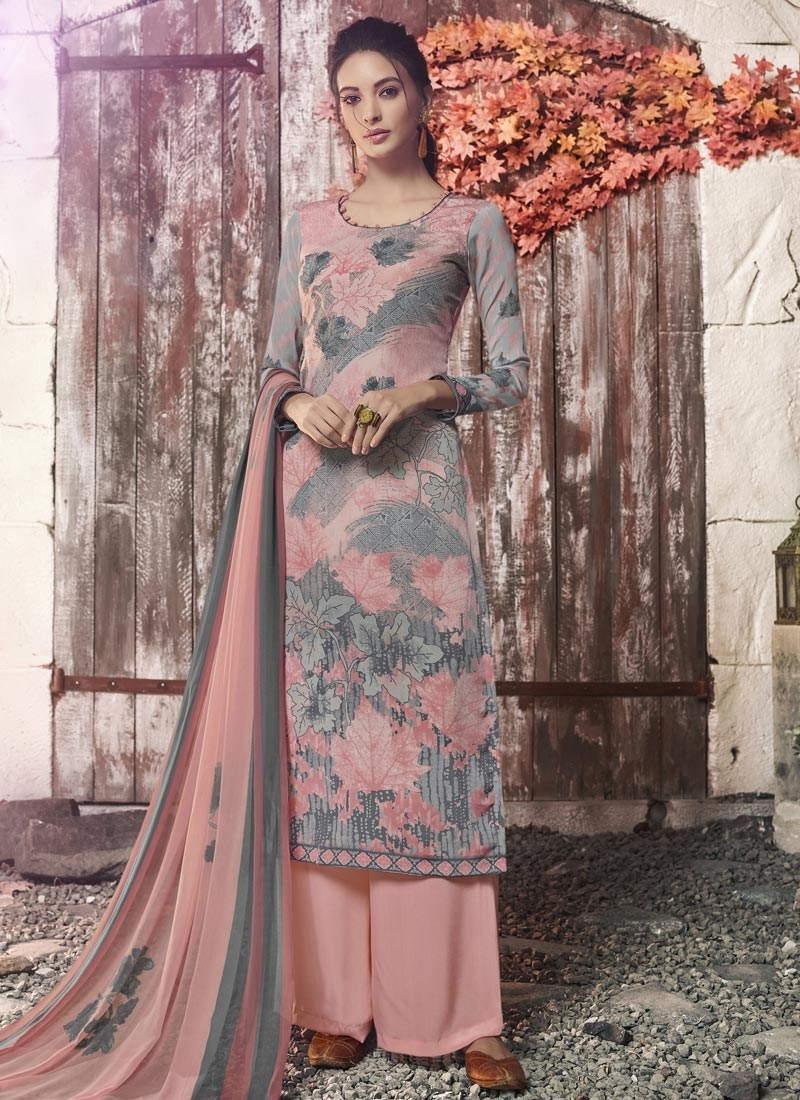 Grey and Salmon Palazzo Style Pakistani Salwar Suit For Ceremonial