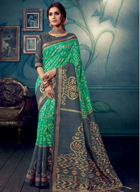 Grey and Sea Green Art Silk Designer Contemporary Saree