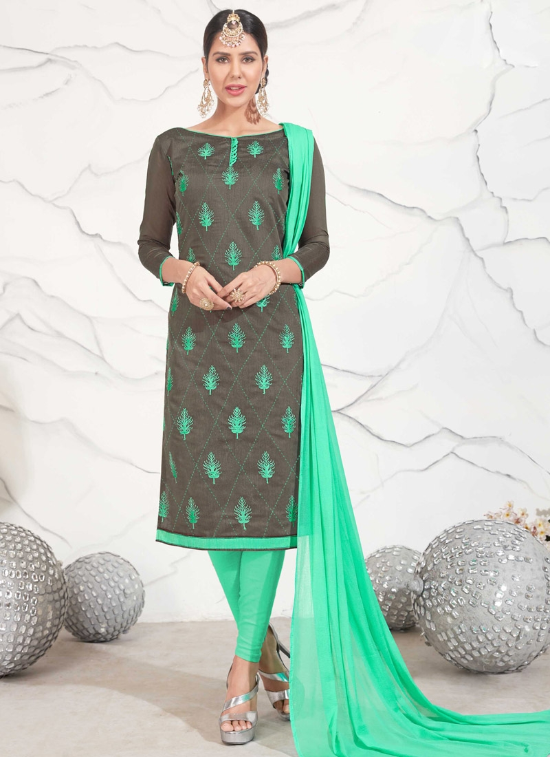 Grey and Sea Green Chanderi Cotton Churidar Salwar Kameez