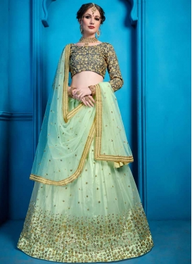 Grey and Sea Green Embroidered Work A Line Lehenga Choli