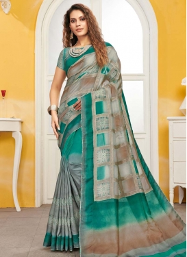 Grey and Sea Green Woven Work Trendy Classic Saree