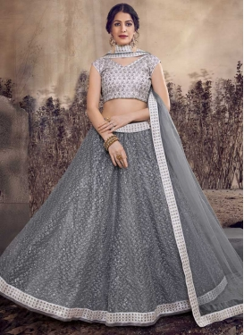 Grey and Silver Color Net A - Line Lehenga