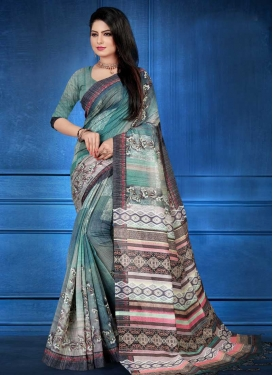 Grey and Teal Art Silk Designer Contemporary Style Saree