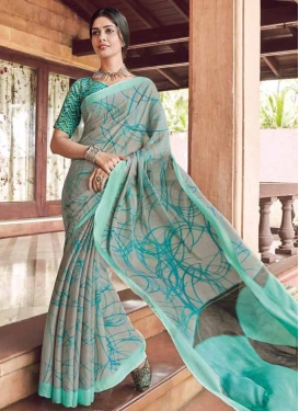 Grey and Turquoise Crepe Silk Designer Contemporary Saree