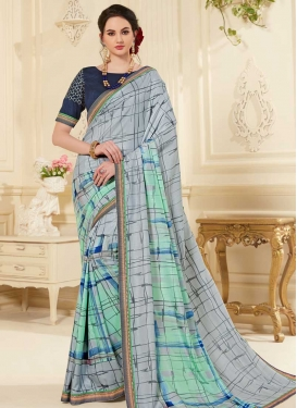 Grey and Turquoise Designer Traditional Saree