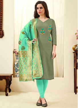 Grey and Turquoise Embroidered Work Cotton Churidar Salwar Suit