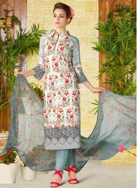 Grey and White Pant Style Pakistani Salwar Kameez