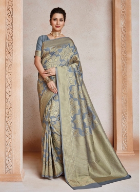 Grey Art Silk Casual Silk Saree