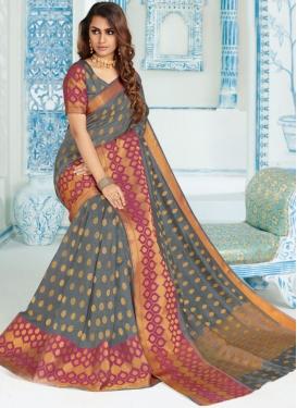 Grey Art Silk Ceremonial Traditional Designer Saree