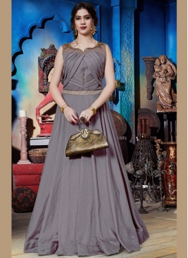 Grey Art Silk Embroidered Readymade Trendy Gown