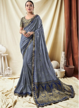 Grey Border Festival Designer Saree