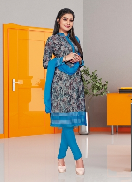 Grey Casual Crepe Silk Churidar Suit