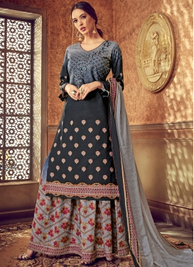 Grey Cotton Digital Print Designer Pakistani Suit