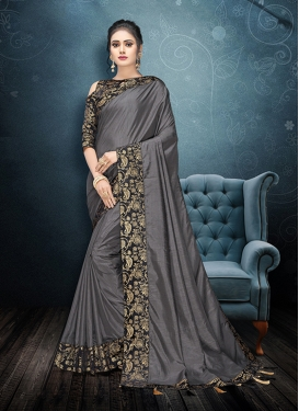 Grey Lace Art Silk Traditional Saree
