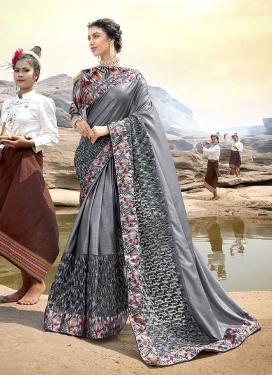 Grey Patch Border Lycra Classic Designer Saree