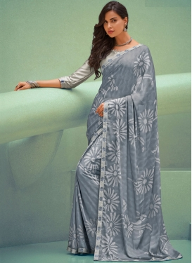 Grey Silk Georgette Party Traditional Saree