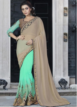 Gripping Georgette Lace Work Beige and Turquoise Half N Half Trendy Saree