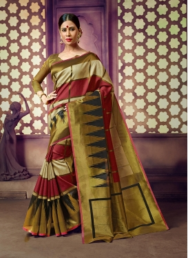 Gripping Olive and Maroon Party Classic Saree
