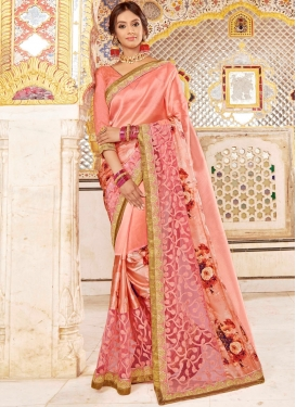 Gripping Satin Silk Peach Classic Designer Saree