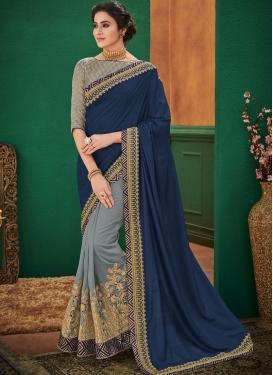 Half N Half Designer Saree Patch Border Art Silk in Navy Blue and Grey